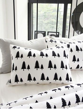 """Black Trees Cotton Fabric - 57"""" Wide - Northern Europe Style - Christmas Fabric - By the Yard - Black and White Patterns 67020 by landofoh on Etsy https://www.etsy.com/listing/208711161/black-trees-cotton-fabric-57-wide"""