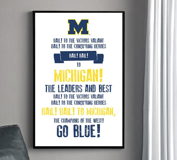 Michigan Fight Song Poster  University of Michigan by HENANDCO, $22.00. Cute, fun game room accessory!