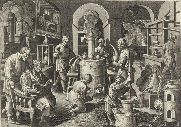 Philips Galle | Distillatie, Philips Galle, c. 1589 - c. 1593 | Een werkplaats voor distillatie. Op de voorgrond leest een geleerde uit een dik boek het recept voor distillatie. Rechts vooraan worden kruiden met een vijzel fijngestampt door een jonge assistent. Centraal een grote ketel die wordt verhit. In een schilderij aan de wand een voorstelling van een eetkamer. De prent maakt deel uit van een negentiendelige serie over nieuwe uitvindingen en ontdekkingen.