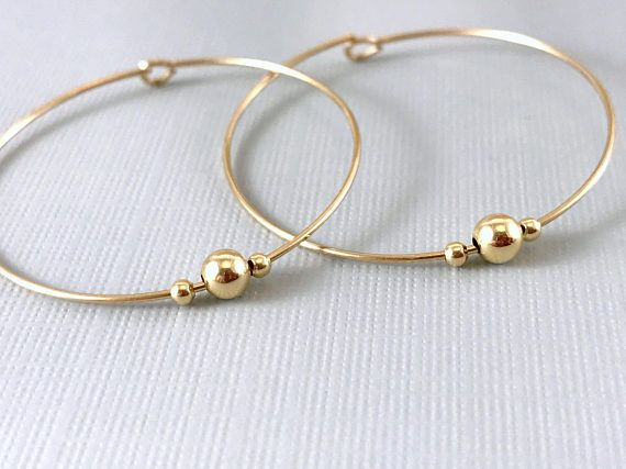 Large Gold Hoop Earrings Beaded Hoops Thin Large Gold Hoops