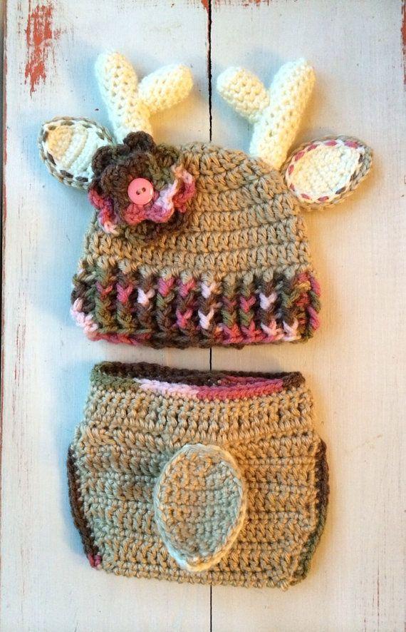 Crochet Pink Camo Deer Hat and Diaper Cover by SweetTandHoneyBees