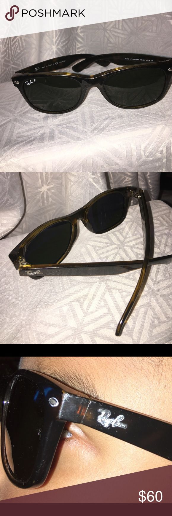 💯Authentic Ray Ban Sunglasses 😎 with the Case Authentic Ray Ban Sunglasses RB 2132 902/58 55[] 18 3P These are New WayFarer Made in Italy. FLAWS--- these Sunglasses have a crack on the right lenses which strangely is not visible while wearing these 🕶 sunglasses. Please see last photo. Ray Ban Accessories Sunglasses