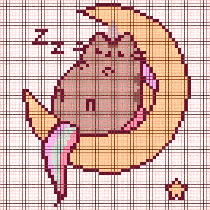картинки по клеточкам котик пушин барельефа
