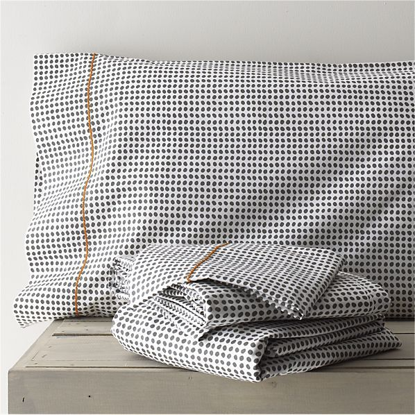Pebble Sheet Sets in Sheet Sets   Crate and Barrel.  that little pop of colored trim