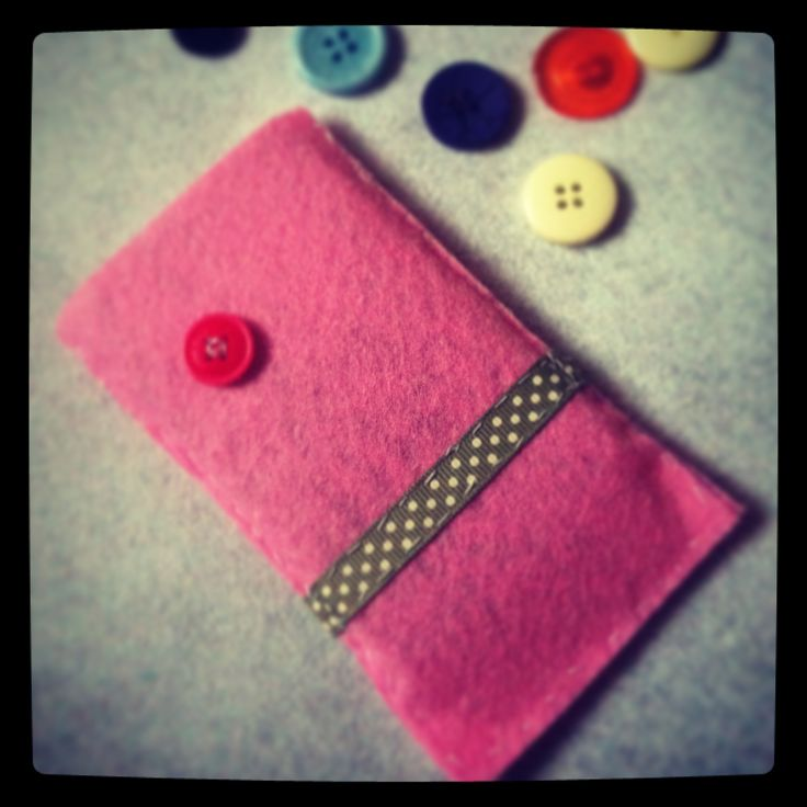 iPhone case made with felt, ribbon and buttons