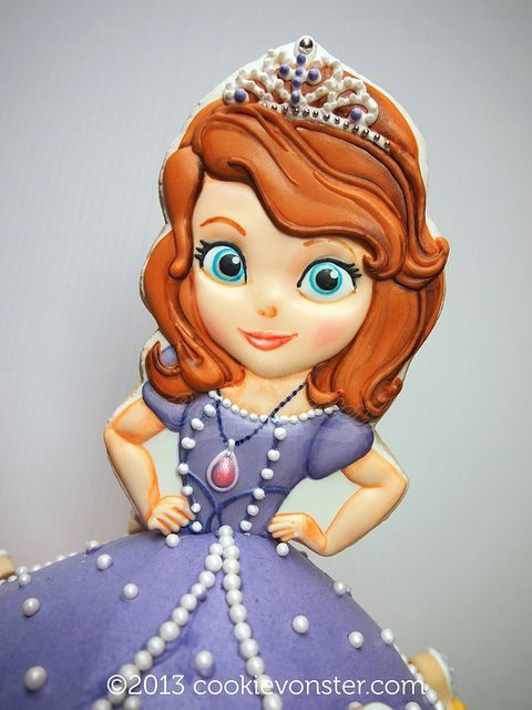 Sofia the First cookie cake topper  www.cookievonster.com