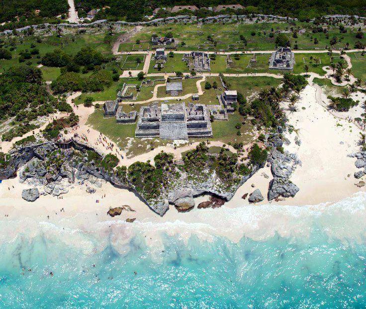 Bird's-eye view of the precolumbian Mayan city of Tulum.
