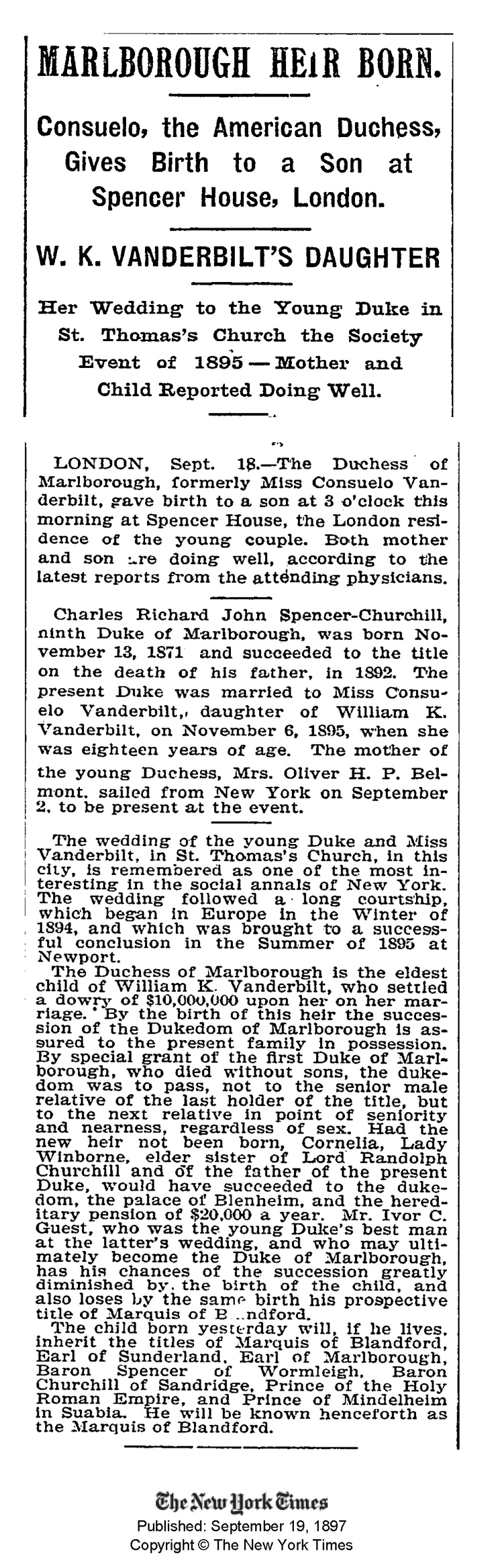 Nyc apartment cooper and vanderbilt at carter s funeral service above - Marlborough Heir Born Consuelo The American Duchess Gives Birth To A Son At Spencer House London W K Vanderbilt S Daughter Her Wedding To The Young