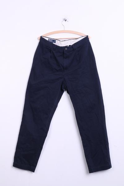 Polo by Ralph Lauren Mens 34/32 Trousers Navy Cotton Chatfield Pant - RetrospectClothes