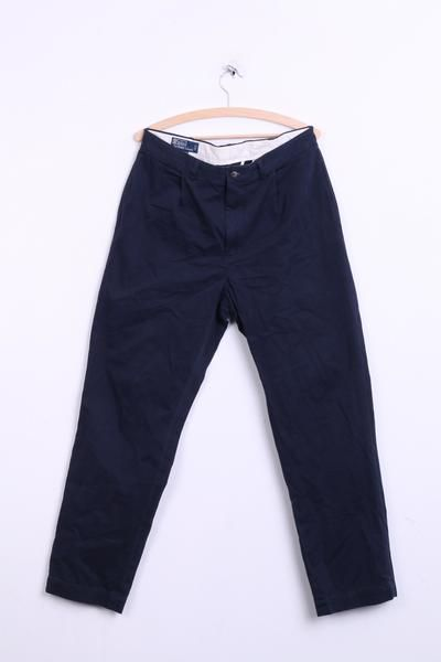 Polo by Ralph Lauren Mens 34/32 Trousers Navy Cotton Chatfield Pant - RetrospectClothes