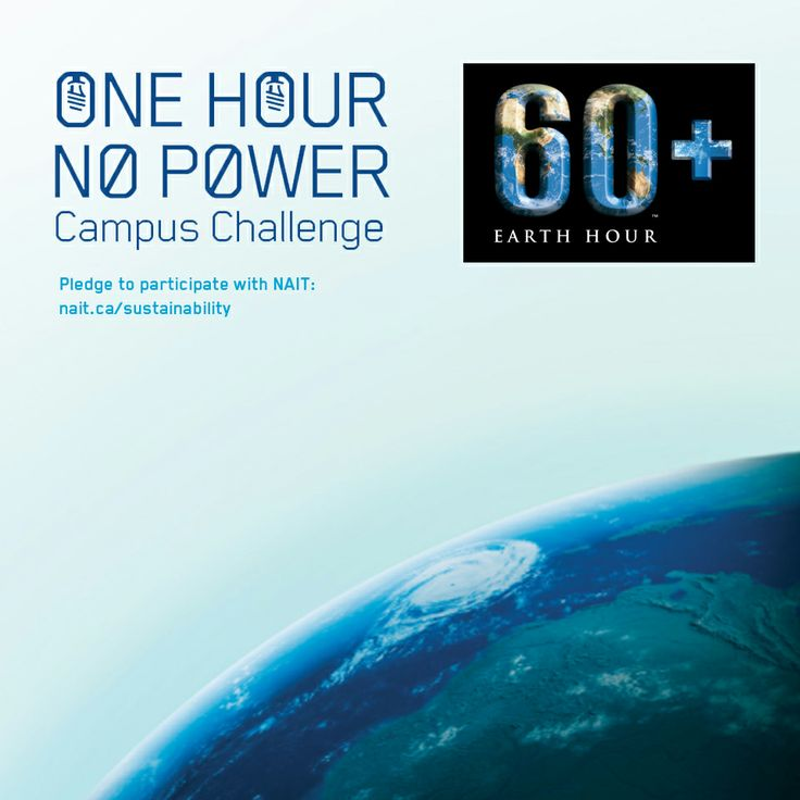 #NAIT is participating in the Earth Hour Alberta post-secondary Campus Challenge! Pledge to go One Hour, No Power with us on March 29. Bring the bragging rights back to NAIT! (We won the challenge in 2010). Click to make your pledge!!! #yeg #Edmonton #sustainability #abpse