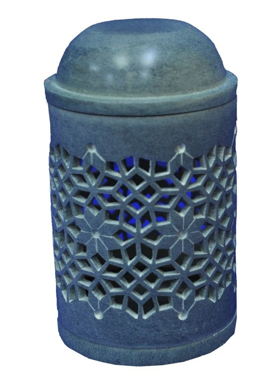 Aroma Lamp-Soap Stone, India: Aroma lamp with fine traditional latticed patterns carved in soap stone. Both the lid and the base are removable for easy use and cleaning.  The International 2012 Panel of Experts commended the finely carved traditional latticed pattern of this well-thought market-competitive aroma lamp.