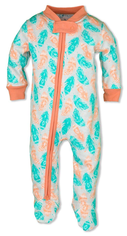 Baby Girl Pajamas Organic Cotton Salmon Feathers Zipper Sleeper