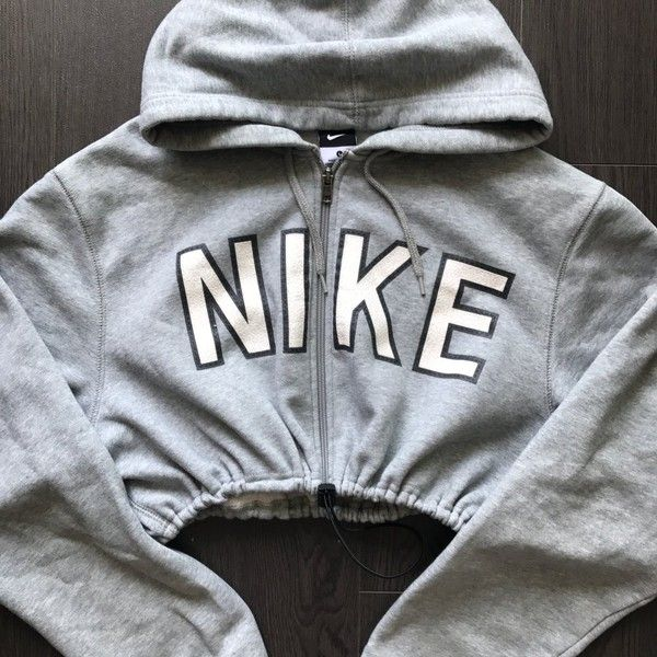 Reworked NIKE Zip Up Crop Hoody Grey ($48) ❤ liked on Polyvore featuring nike