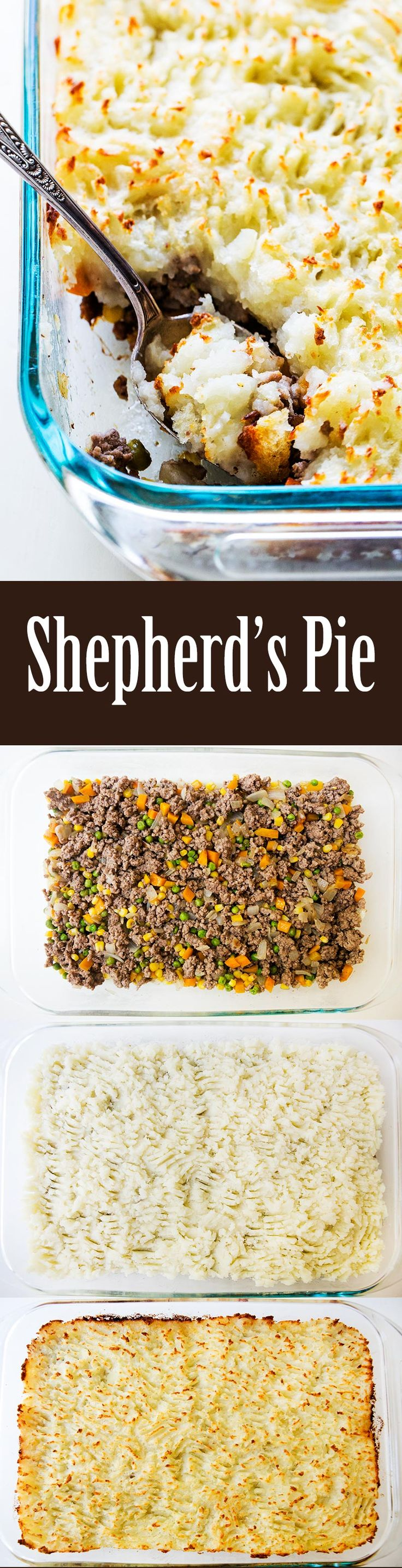 American favorite shepherd's pie recipe! Casserole with ground beef, vegetables such as carrots, corn, and peas, topped with mashed potatoes. On SimplyRecipes.com