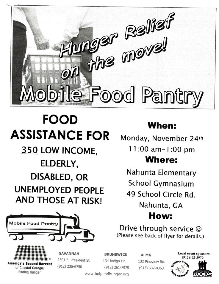 Brantley County Family Connection & America's Second Harvest are partnering together to host a Mobile Food Pantry November 24, 2014 from 11am - 1pm at the Nahunta Elementary School Gymnasium. We will be able to serve 350 families. Please spread the word!