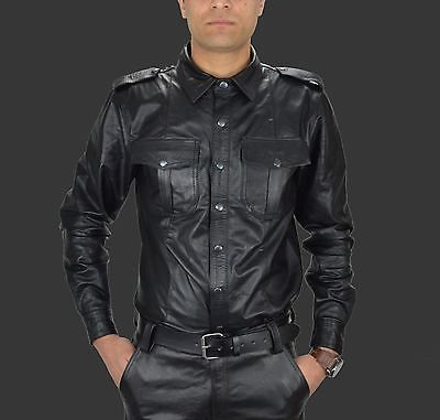MEN LEATHER SHIRT GENUINE LAMBSKIN LEATHER POLICE MILITARY STYLE CAUSAL SHIRT 37