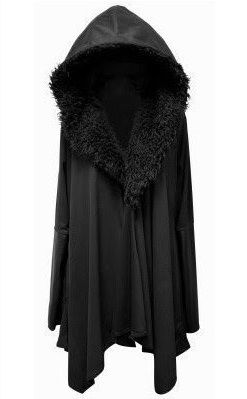 Black fur coat goth jacket cardigan cape hooded fluffy rock cool badass Jon snow winter nu goth pastel night