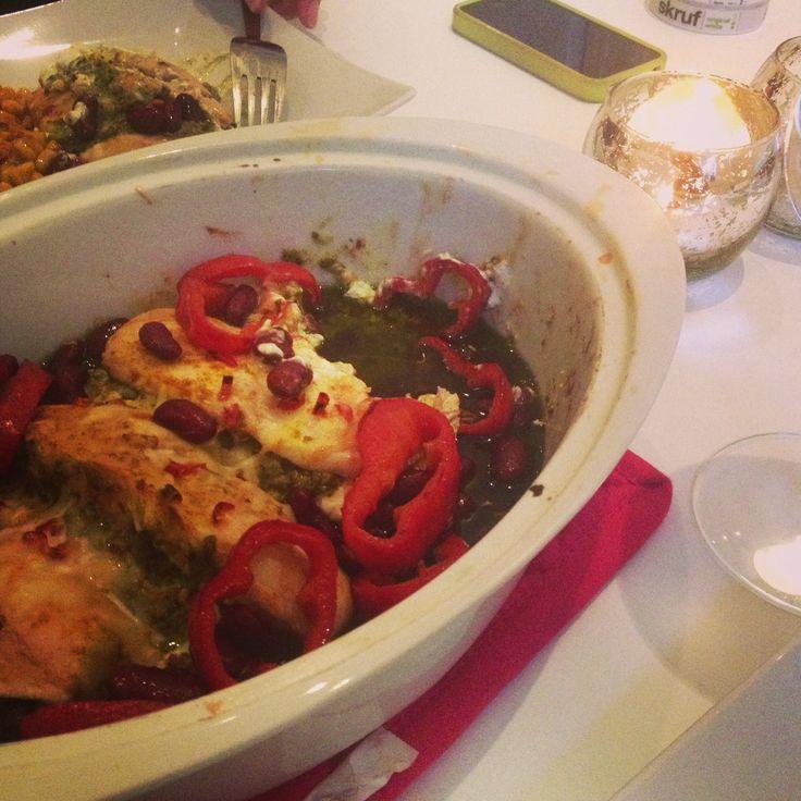 Pesto marinated chicken with cream cheese