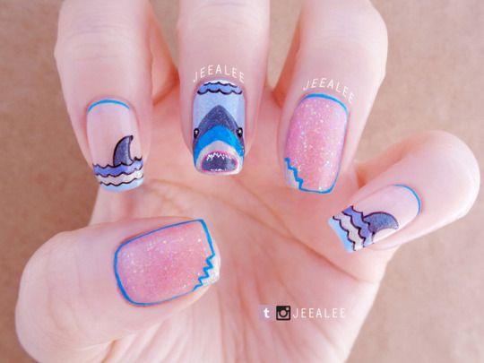 #nail art#nails#shark nails#shark week#outline nails