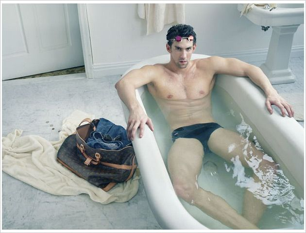Louis Vuitto, Michael Phelps campaign. Clothes make the man...or sometimes just a nice tub,