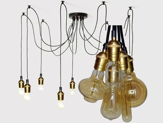 Lampe En Laiton Araignee Lustre 3 12 Douilles Pendentif Etsy Brass Lamp Lamp Socket Industrial Chandelier