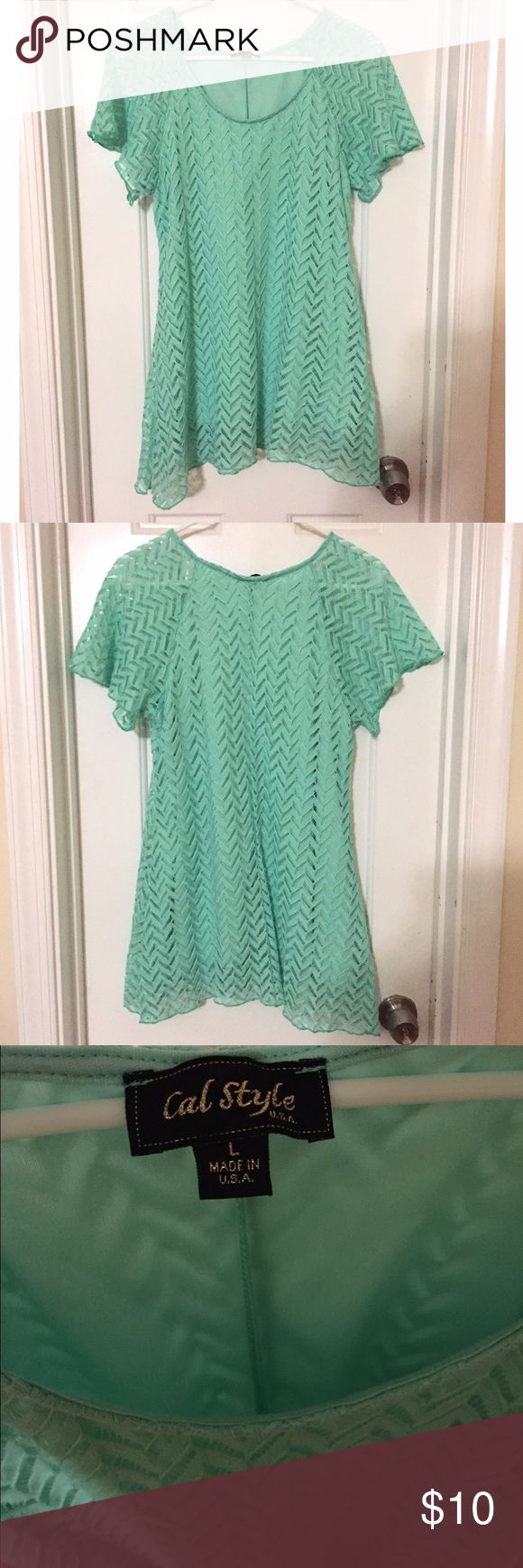 Lace Tunic Top Mint Green Blouse SZ Large This Lace Tunic Mint Green Lace Tunic Top Mint Green Top is in like new condition. Cal Style - USA. Size Large. Very pretty Lace 🎀 Would look really cute with leggings. Cal Style Tops Tunics