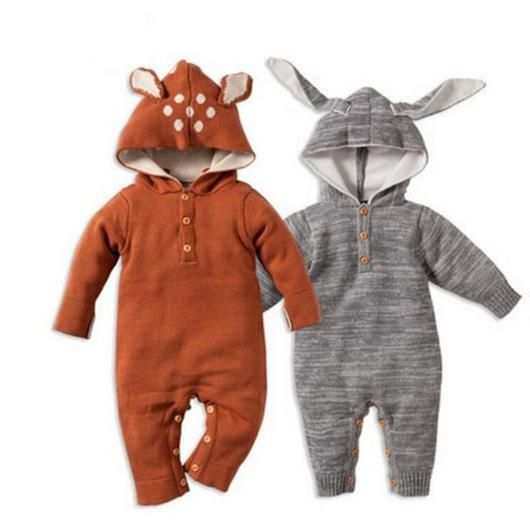 Bunny / Deer Knitted Romper cool unisex baby kids clothes winter ear