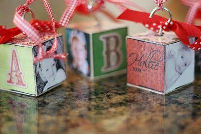 Wood block ornaments.