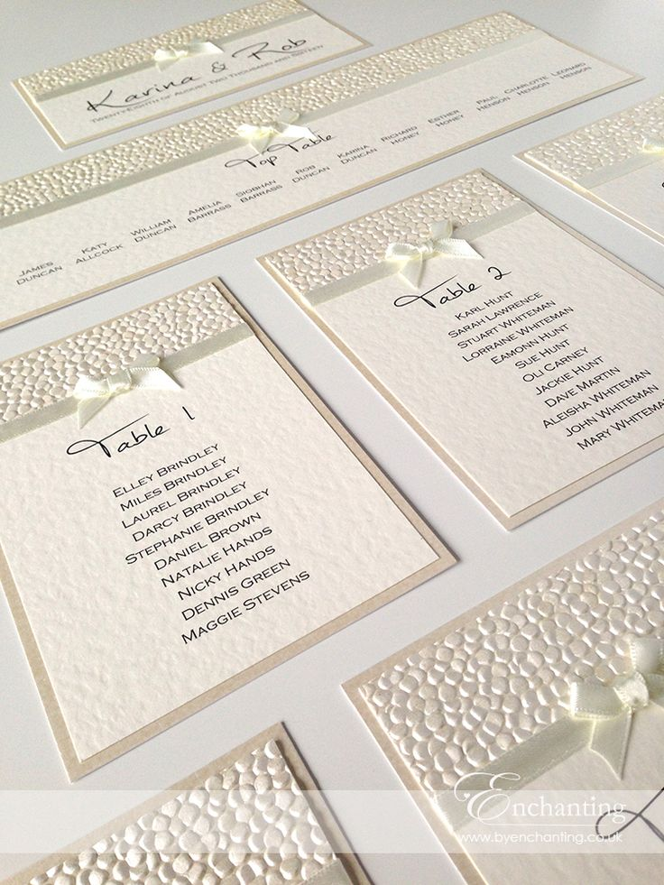 Ivory Wedding Stationery | Bespoke Design - DIY Table Plan | Featuring ivory pebble paper, bridal white satin ribbon and pretty bow embellishment | Luxury handmade wedding invitations and stationery #byenchanting