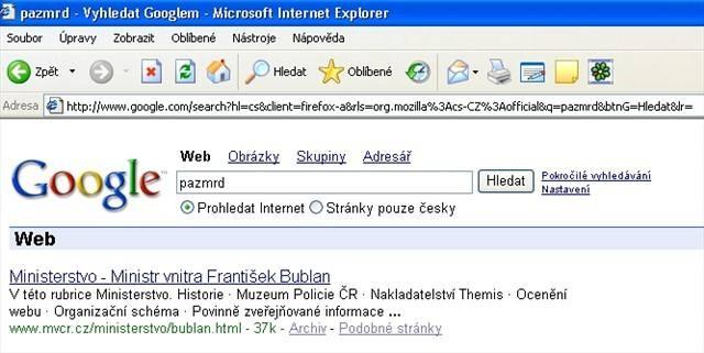 pazmrd Bublan na Google - jó, březen 2006, to byl dobrej měsíc... ;*)