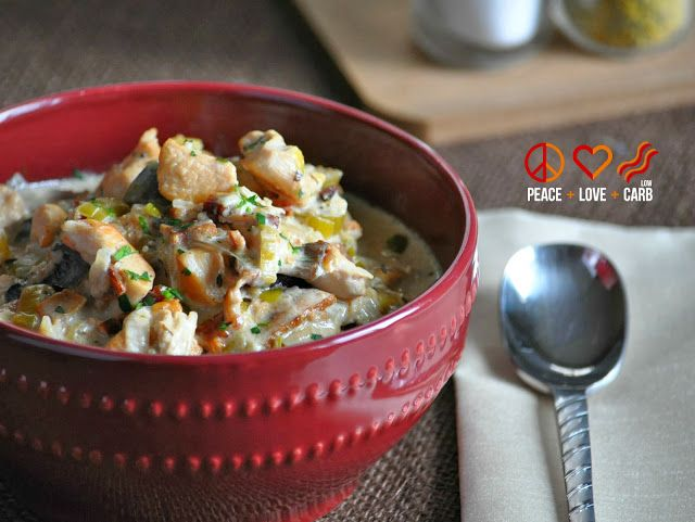 Slow Cooker Chicken Bacon Chowder - Low Carb and Gluten Free