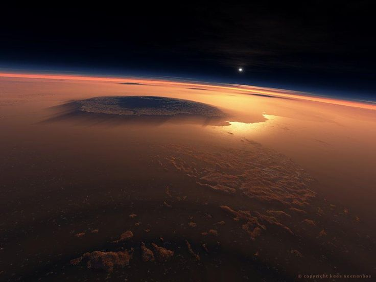 Olympus Mons, the largest known volcano in our solar system, found on Mars. It is about the size of the state Arizona.