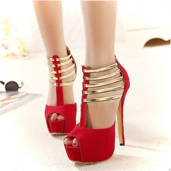 Women's Style Sandal Shoes Winter Fashion Prom Shoes Chic Coral Red Suede Peep Toe Stiletto Heels Gold T Strap Sandals Stiletto Heels For Party Cute Outfits For Party Christmas Party Outfit, Night Club, Dancing Club, Music Festival, Anniversary | FSJ