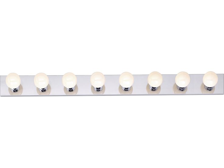 """Description 8 Light - 48"""" - Vanity - Strip Specs Fixture Type: Vanity & Wall UL Application: Wall UL Classification: Dry Style: Traditional Finish: Polished Chrome Shade: Strip Shade Material: Glass N"""