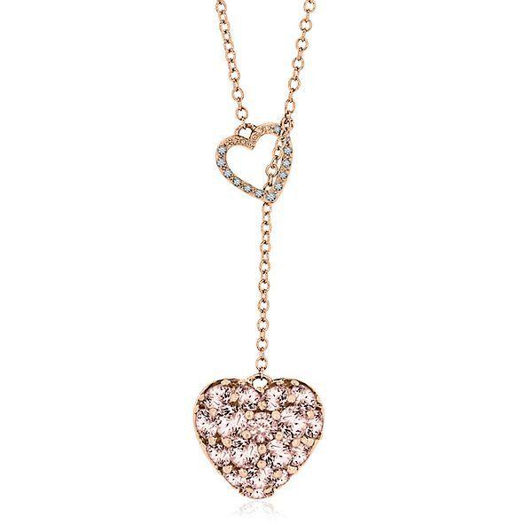 Morganite Diamond Lariat Necklace In 10k Rose Gold 2298527 Helzberg Diamond Diamond Initial Necklace Heart Pendant Diamond Diamond Heart Pendant Necklace