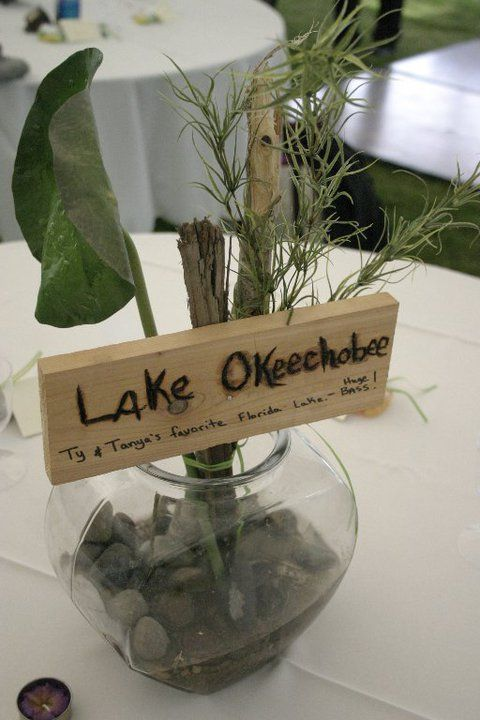 super cute idea! different lake for each table