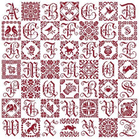 Patchwork Sampler - Marquoir rouge au point de croix de Clorami Designs. www.clorami-designs.be
