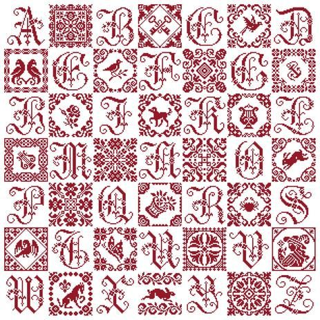 Patchwork Sampler - Marquoir rouge au point de croix de Clorami Designs. www.clorami-designs.be
