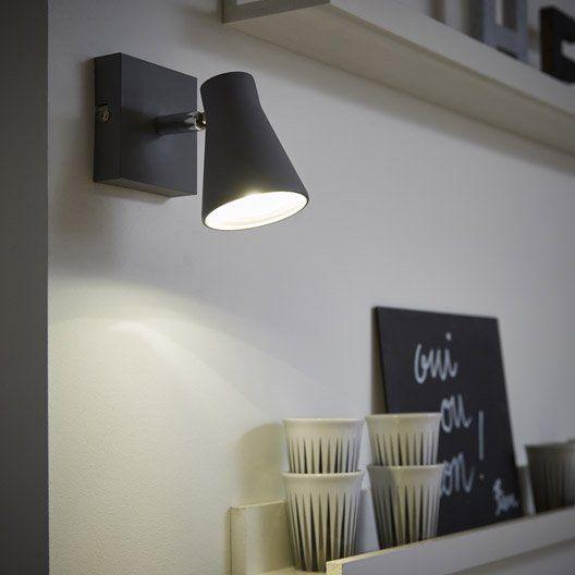 Spot patère sans ampoule, 1 x GU10, gris Szari INSPIRE