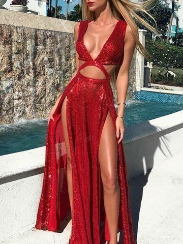 07e7a3ad5a Deep V-neck Sleeveless Split-side Maxi Dress in 2019 ...