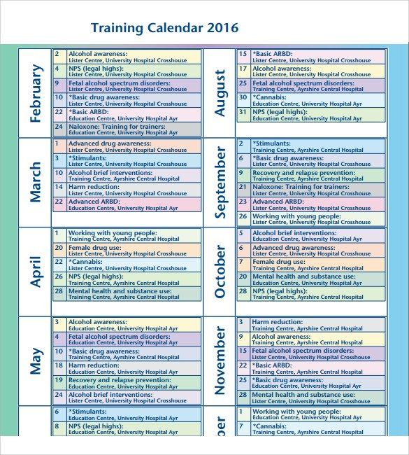 Training Calendar Templates Calendar Template Excel Calendar