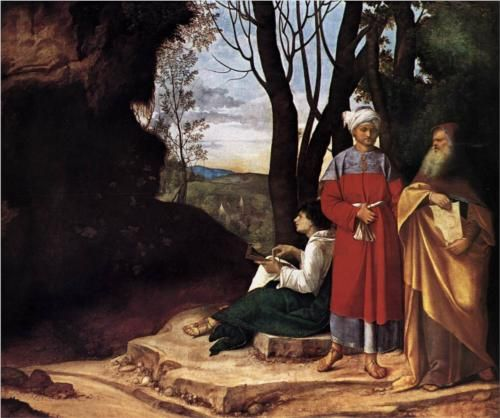 1508-1509, Giorgione,This painting was commissioned by a Venetian merchant, Taddeo Contarini. The painting depicts three philosophers: one young, one middle aged, and one old. According to one interpretation, the three figures are said to represent the three stages of human thought: the Renaissance, the age of Muslim academic expansion, and the Middle Ages. One of Giorgione's last works before his death, it is said to have been finished by Sebastiano del Pombo.