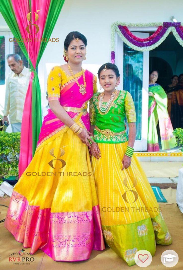 The lovely mom daughter duo in  kavithagutta  kanchipuram lehengas.  26 May 2017