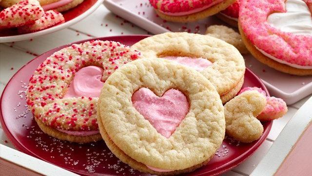 Valentines day heart cookie sandwiches