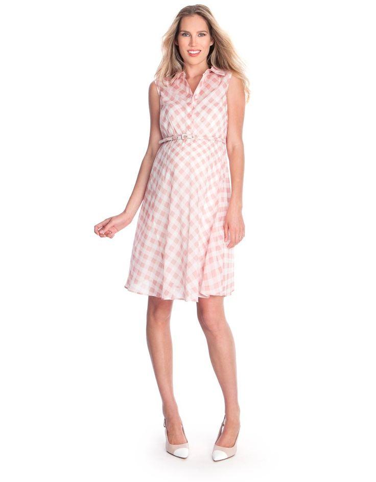 Blush Pink Gingham Cotton Maternity Dress