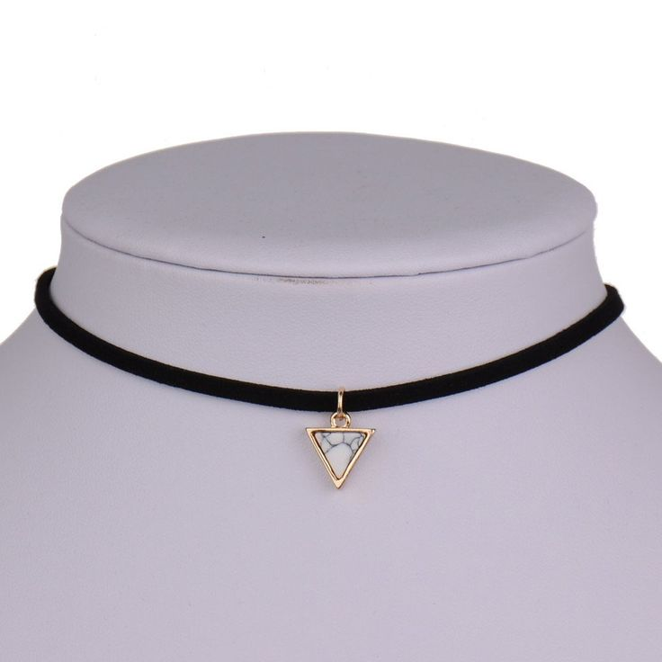Punk Necklace Women Short Black Velvet Choker Necklaces With Triangle Faux