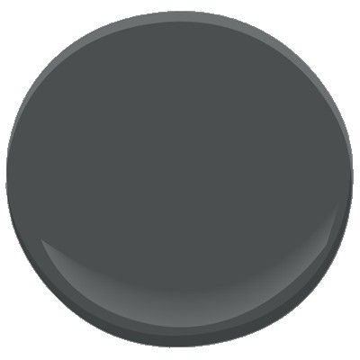 """A blackened gray, this dark, somewhat mysterious shade takes its color cue from the stars' dark, impenetrable backdrop."" Benjamin Moore Nightfall 1596"