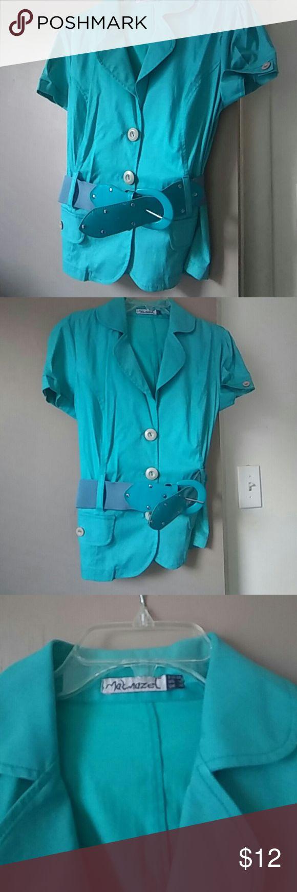 Short sleeve women blazer Never been warned without tag. Cute mint green short sleeve women blazer with belt. Very soft material matmazel Jackets & Coats Blazers