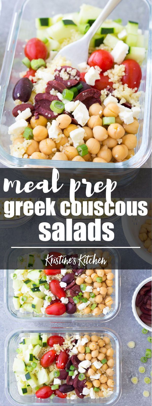 This Meal Prep Greek Couscous Salad is a healthy, vegetarian make ahead lunch. These lunch bowls are filled with healthy vegetables and chickpeas add protein! You can also serve this as a side salad at a BBQ. #mealprep #foodprep #lunch #healthylunch #healthyeating #chickpea #salad